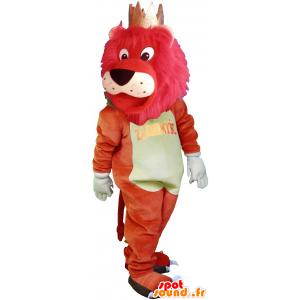 Mascotte de gros lion coloré avec une couronne - MASFR032716 - Mascottes Lion