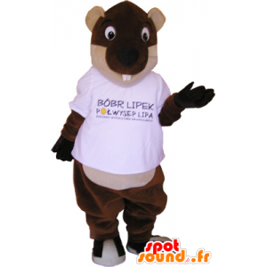 Brown and beige giant beaver mascot - MASFR032717 - Beaver mascots