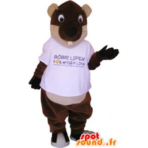 Ruskean ja beigen jättiläinen majava maskotti - MASFR032717 - Mascottes de castor