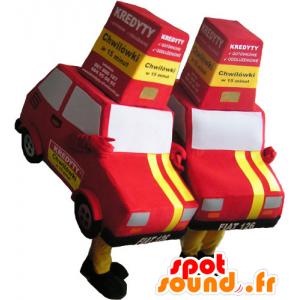 2 mascots roten und gelben Autos - MASFR032719 - Maskottchen von Objekten