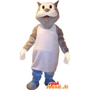 Mascotte de gros chat gris et blanc en marcel - MASFR032720 - Mascottes de chat