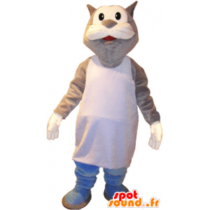 Mascotte grande grigio e bianco gatto Marcel - MASFR032720 - Mascotte gatto