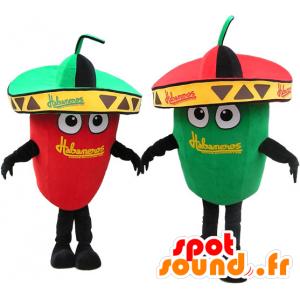 2つのマスコット巨大な緑と赤唐辛子。マスコットカップル - MASFR032721 - 野菜のマスコット