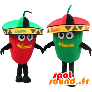 2 mascottes reus groene en rode paprika. mascottes Couple - MASFR032721 - Vegetable Mascot