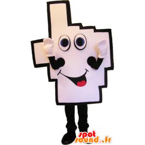 Gigante dito mano mascotte in aria a piazza grafica - MASFR032722 - Mascotte non classificati