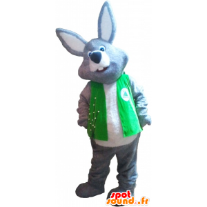 Gray and white giant rabbit mascot wearing a vest - MASFR032727 - Rabbit mascot