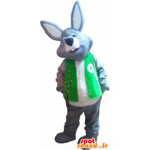 Mascotte de lapin géant gris et blanc portant un gilet - MASFR032727 - Mascotte de lapins
