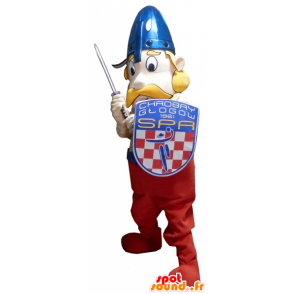 Viking mascot mustache with his helmet and shield - MASFR032728 - Goats and goat mascots
