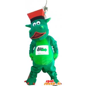 帽子と緑の恐竜のマスコット - MASFR032736 - 恐竜のマスコット