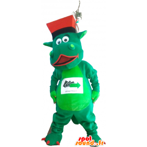 Mascotte de dinosaure vert avec un chapeau - MASFR032736 - Mascottes Dinosaure
