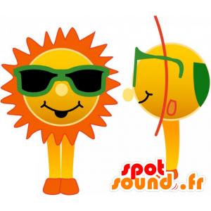 Mascot slunce se zelenými brýlemi - MASFR032740 - Neutajované Maskoti