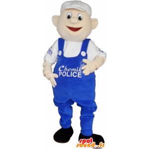 Schneemann-Maskottchen in blauen Overalls und weiße Kappe - MASFR032741 - Menschliche Maskottchen