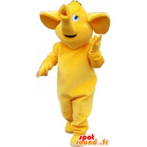 Mascotte de gros éléphant tout jaune - MASFR032744 - Mascottes Elephant