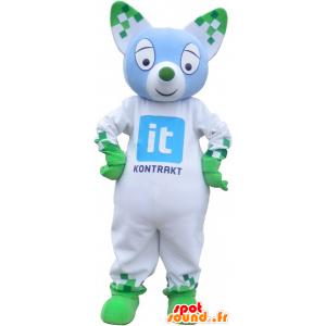 Bianco e verde gatto mascotte con le orecchie a punta - MASFR032746 - Mascotte gatto