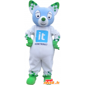 White and green mascot cat with pointy ears - MASFR032746 - Cat mascots