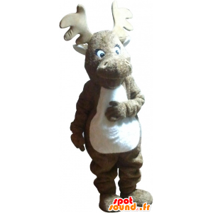 Brown moose mascot and realistic white - MASFR032747 - Animals of the forest