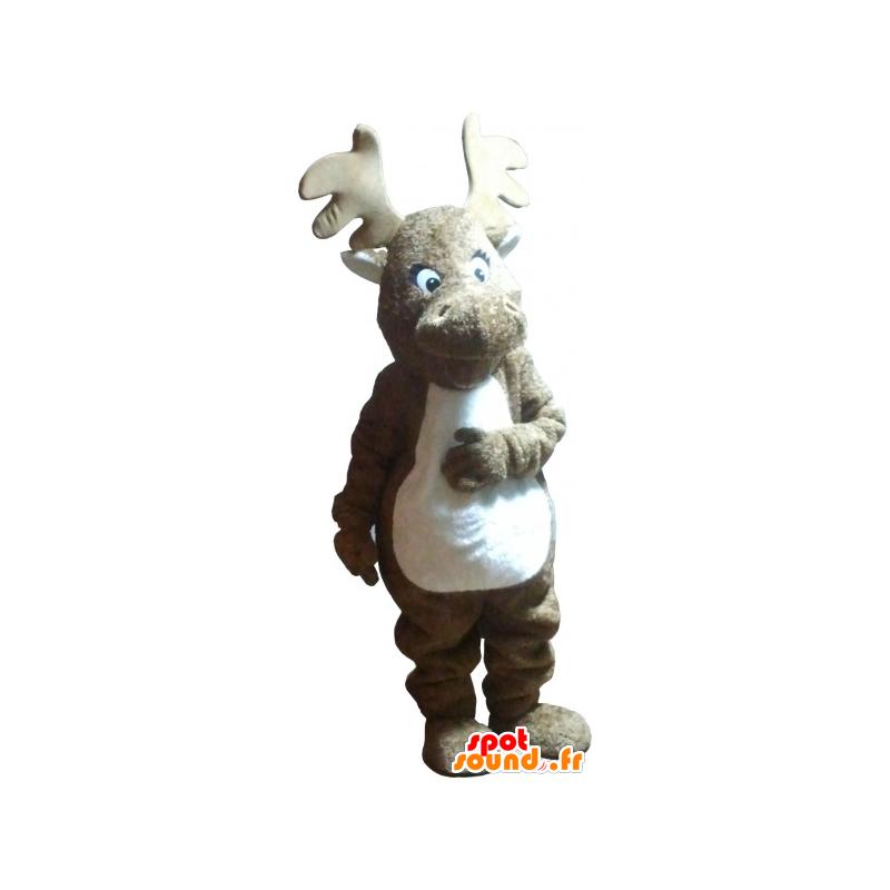 Mascote Alces Marrom E Branco Realista Em Forest Animals