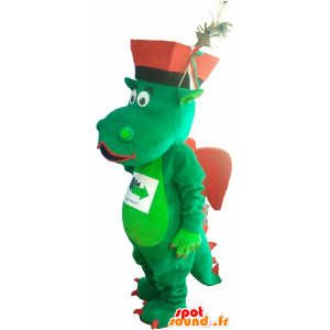 Green and red dragon mascot with a hat - MASFR032748 - Dragon mascot