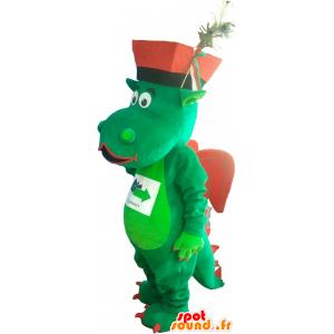 La mascota dragón verde y rojo con un sombrero - MASFR032748 - Mascota del dragón