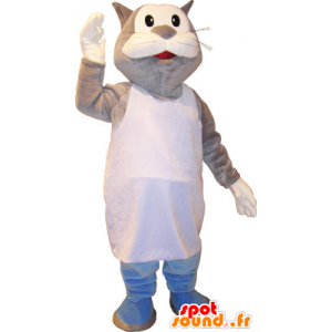 Gris y blanco gato gigante mascota Marcel - MASFR032750 - Mascotas gato