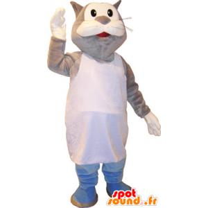Mascotte de chat gris et blanc géant en marcel - MASFR032750 - Mascottes de chat
