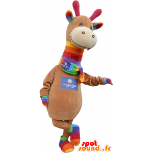 Mascotte de dinosaure marron et coloré très mignon - MASFR032757 - Mascottes Dinosaure