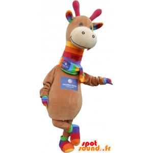 Brązowy dinozaur maskotka i kolorowe bardzo słodkie - MASFR032757 - dinozaur Mascot