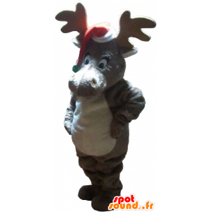 Christmas reindeer mascot with a cap - MASFR032759 - Christmas mascots
