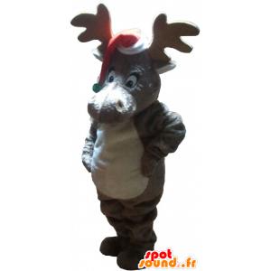 Kerst rendieren mascotte met een pet - MASFR032759 - Kerstmis Mascottes