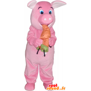 Pink pig mascot with an orange carrot - MASFR032763 - Mascots pig