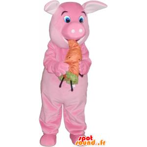 Rosa gris maskot med en oransje gulrot - MASFR032763 - Pig Maskoter
