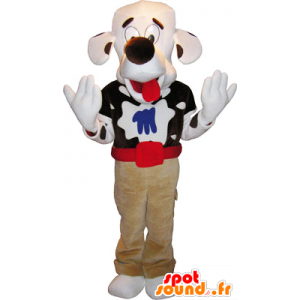 Strakatý pes maskot s velkou hlavou - MASFR032764 - psí Maskoti