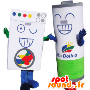 2 mascots, 1 Karton Ziegeln Wäsche und 1 Riesen-Batterie - MASFR032766 - Maskottchen von Objekten