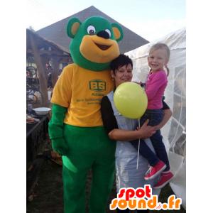 Green and yellow teddy mascot giant - MASFR032772 - Bear mascot