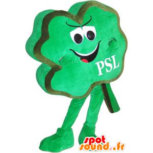 Mascotte de trèfle à quatre feuilles vert, espiègle - MASFR032775 - Mascottes de plantes