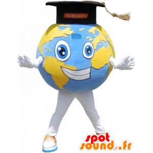 Obří planeta Země maskot s Grad Cap - MASFR032781 - Neutajované Maskoti