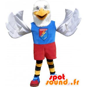 Blanco águila mascota vestida de colores en los deportes - MASFR032784 - Mascota de deportes
