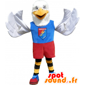 White eagle mascot dressed in colorful sports - MASFR032784 - Sports mascot