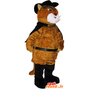 Mascot grande abito gatto gatto con marrone - MASFR032788 - Mascotte gatto