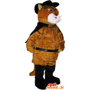 Mascotte de gros chat marron en tenue de chat botté - MASFR032788 - Mascottes de chat