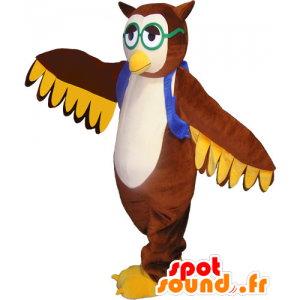 Brown Owl Mascot with a vest and goggles - MASFR032789 - Mascot of birds