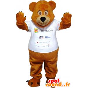 Brown teddy mascot with a white T-shirt - MASFR032790 - Bear mascot