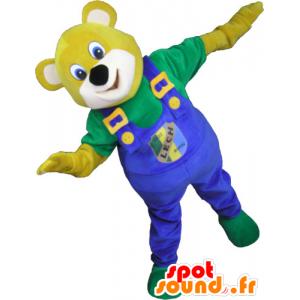 Keltainen karhu maskotti kanssa sininen haalari - MASFR032791 - Bear Mascot