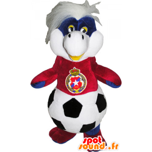 Plush mascot body with a ball and a soccer jersey - MASFR032792 - Mascots unclassified
