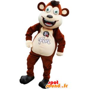Mascotte de singe marron et beige rigolo - MASFR032793 - Mascottes Singe