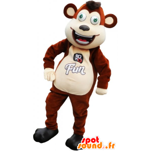 Mascotte scimmia marrone e beige divertente - MASFR032793 - Scimmia mascotte