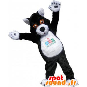 Mascotte de gros chat noir et blanc. Costume de chat - MASFR032794 - Mascottes de chat