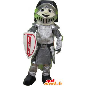 Mascotte de chevalier en armure avec casque et bouclier