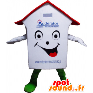 Valkoinen talo maskotti, punainen ja vihreä, erittäin hymyilevä - MASFR032798 - maskotteja House