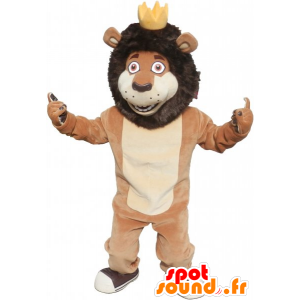 Brown and beige lion mascot with a crown - MASFR032799 - Lion mascots